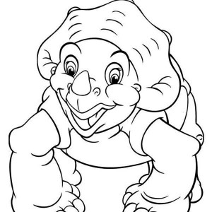 Land Before Time Family Little Foot and Petrie Coloring Page Land