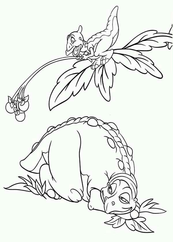 land before time family petrie give cera father fruits coloring page - Land Before Time Free Coloring Pages