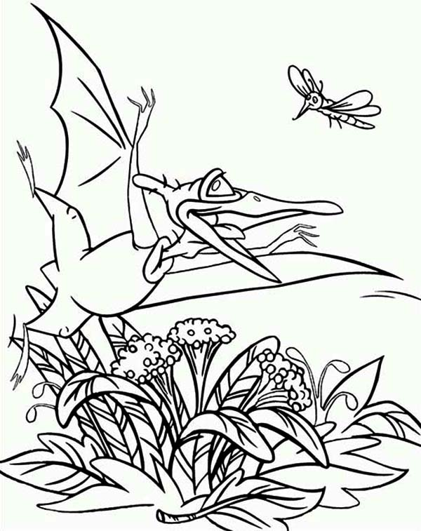 Land Before Time Family Petrie and Mosquito Coloring Page