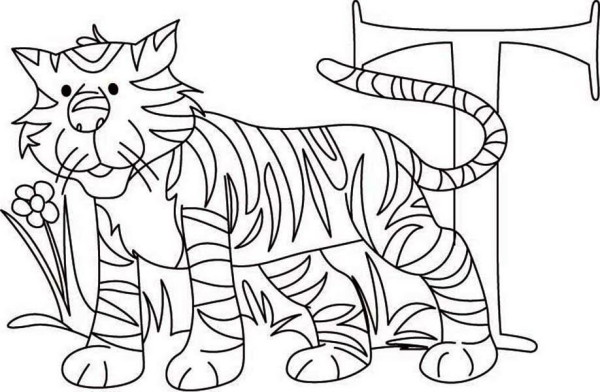 learn letter t for tiger coloring page - Letter T Coloring Pages