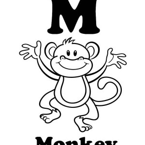 Letter M for Monkey Coloring Page