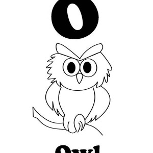 Letter O for an Owl Coloring and Writing for kids