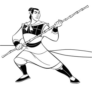 Li Shang, Mulan Captain in the Army Coloring Page