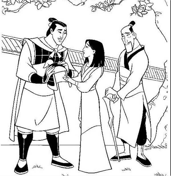 li shang mulan and her father after the battle coloring page