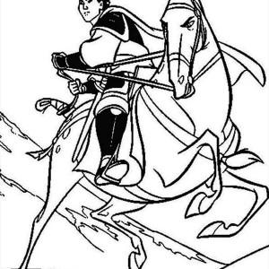 Li Shang and His Horse, Khan Coloring Page