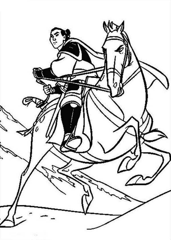 Li Shang And His Horse Khan Coloring Page Download