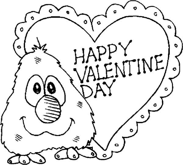 Little Elmo Say Happy Valentines Day Folks Coloring Page