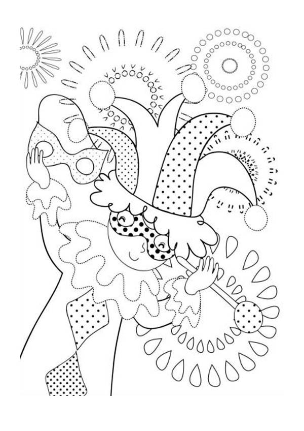 Little Kid Acting Like Jester on Mardi Gras Coloring Page