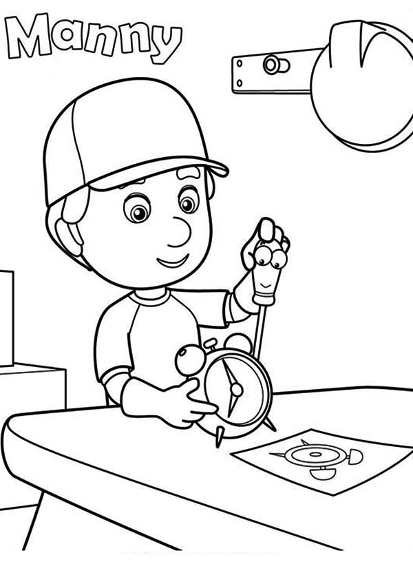handy manny manny fixing a clock with felipe handy manny coloring page - Handy Manny Colouring Pages