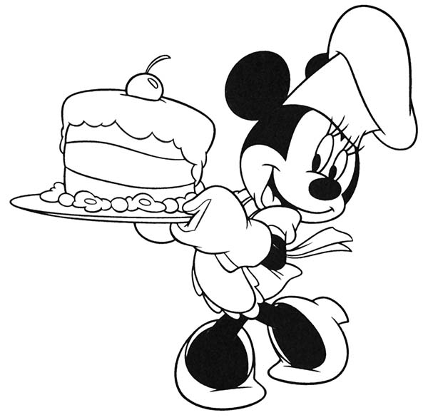Minnie Mouse Cooking a Cake Coloring Page Download Print