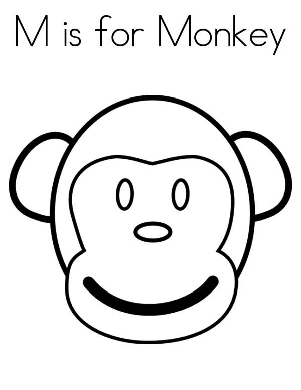 Monkey face coloring page download print online for Monkey face coloring pages
