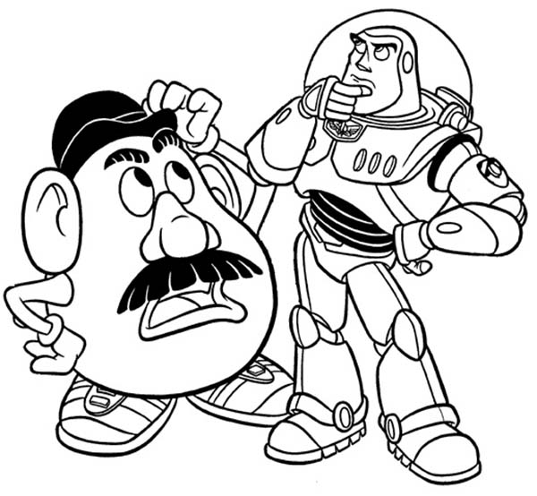 Mr Potato Head and Buzz in Toy Story Coloring Page Download