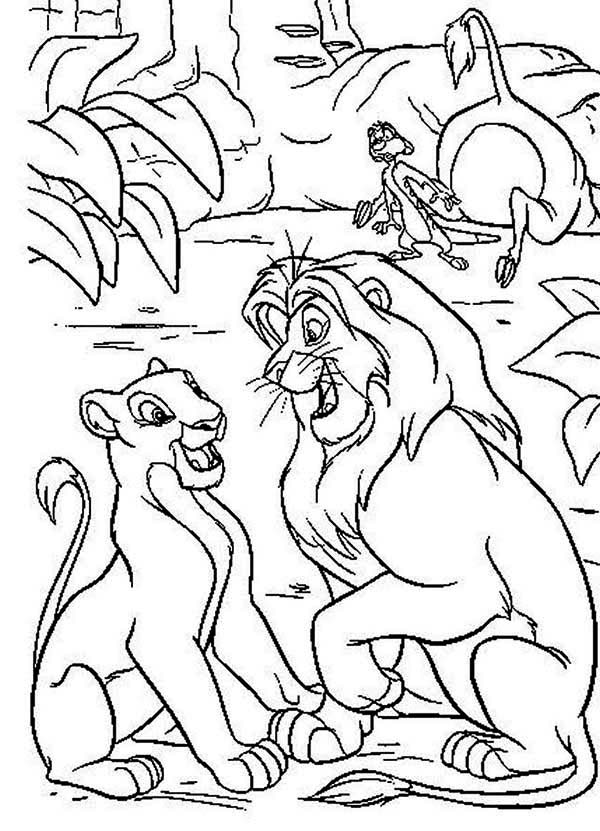 Mufasa and Nala in the Wood with Timon The Lion King Coloring Page ...