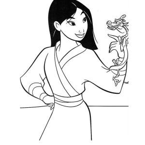 Mulan Talks with Mushu Coloring Page