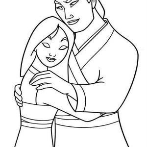 Mulan and Li Shang After the Battle Coloring Page