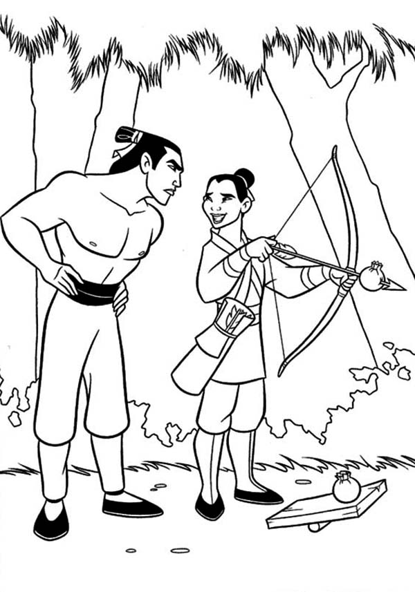Mulan and Li Shang Practising Archery Coloring Page Download