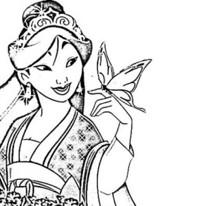 Mulan In Her Chinese Imperial Dress Coloring Page