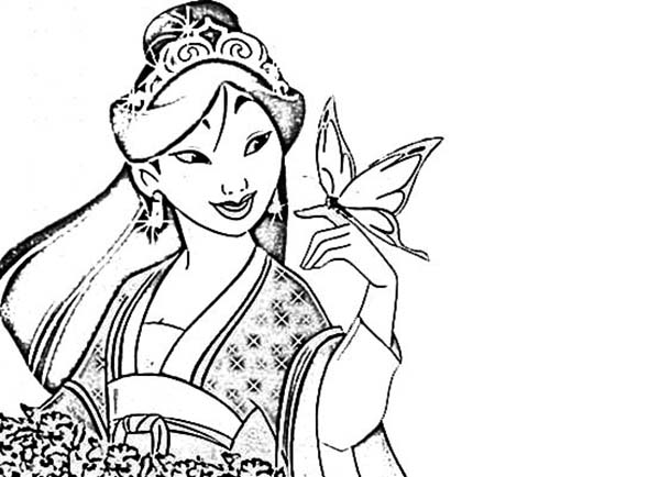 Mulan in Her Chinese Imperial Dress Coloring Page Download