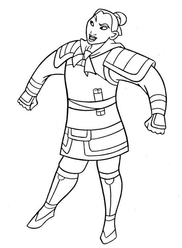 Mulan In Her Soldier Uniform Coloring Page Mulan In Her