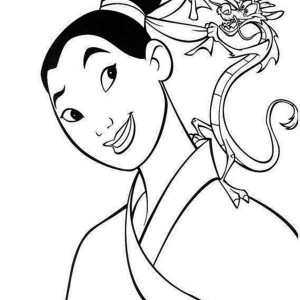 Mushu Helps Mulan to Tide Her Bun Coloring Page