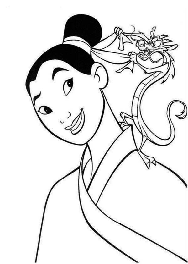 Mushu Helps Mulan to Tide Her Bun Coloring Page Download