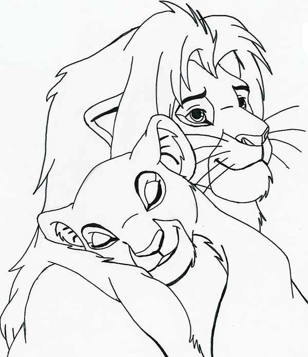 Nala Sleep on Simba Shoulder Coloring Page Download Print Online
