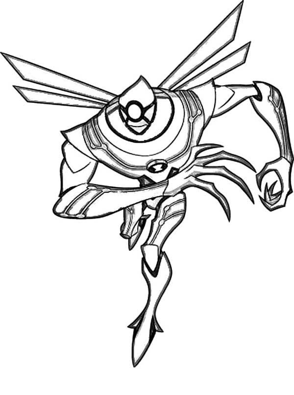 ben 10 nanomech from ben 10 ultimate alien coloring page