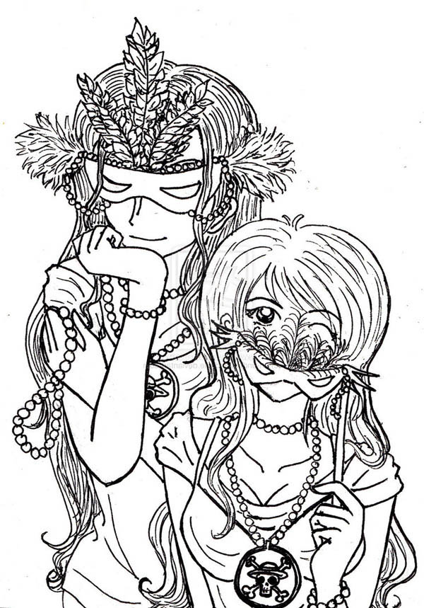 One Piece Anime Girls On Mardi Gras Costume Coloring Page