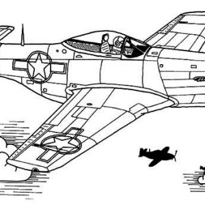 P51 sky domination airplane coloring page