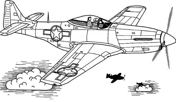 P51 sky domination airplane coloring page Download Print