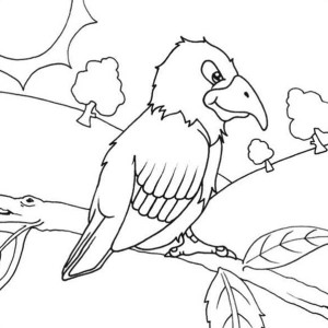 Parrot in the Forest Coloring Page