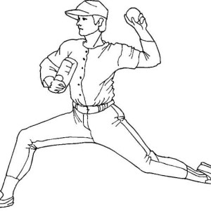Pitcher Throwing Baseball Coloring Page