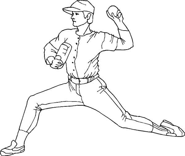 pitcher coloring pages pitcher throwing baseball coloring page download print