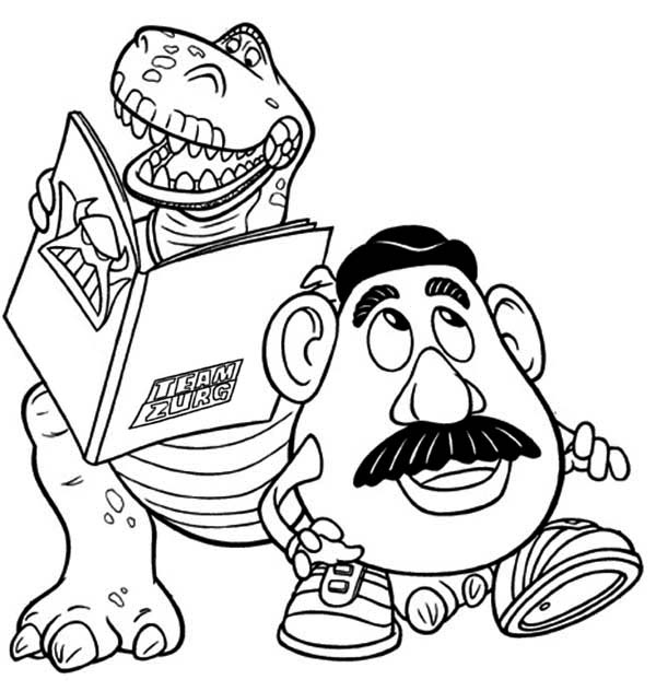 Rex and Mr Potato Head in Toy Story Coloring Page Download