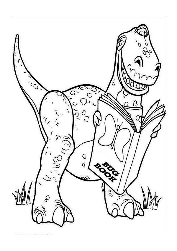 rex is reading a book in toy story coloring page