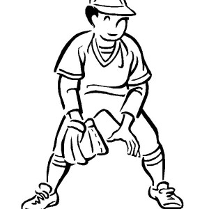 Second Base Baseball Player Coloring Page