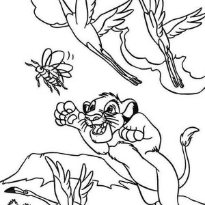 Simba Jumps Catching Bee Coloring Page