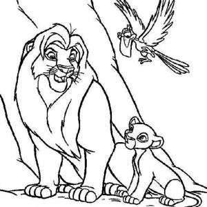 Simba, Mufasa and Zazu The Lion King Coloring Page