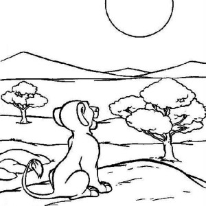 Simba Staring at the Sun The Lion King Coloring Page