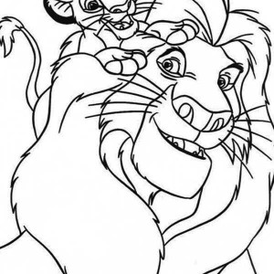 Simba and His Father Mufasa Coloring Page
