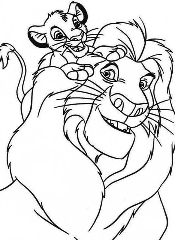 Simba and His Father Mufasa Coloring Page - Download & Print Online ...