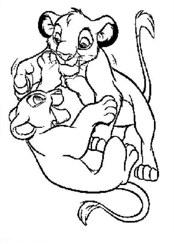 lion king christmas coloring pages - simba and his girlfriend the lion king coloring page