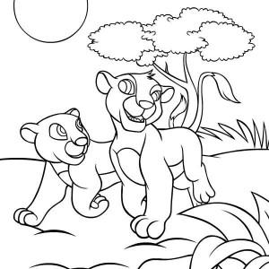 Simba and Nala Coloring Page