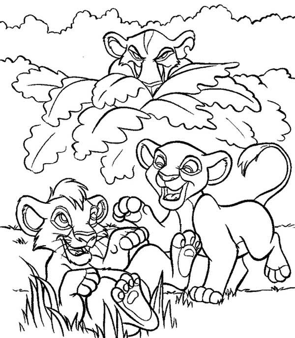 Simba and Nala Peeked by Scar Coloring Page Download Print