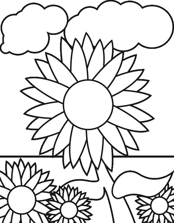 Sunflower garden coloring page download print online for Garden coloring page