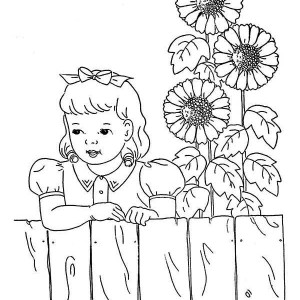 Sunflower and a Girl Coloring Page