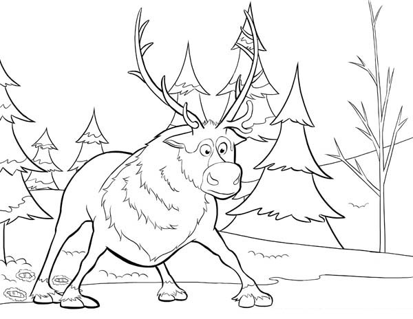 Sven from Disney Movie Frozen Coloring Page Download Print