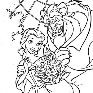 The Beast Give Belle a Bouquet of Flower Coloring Page