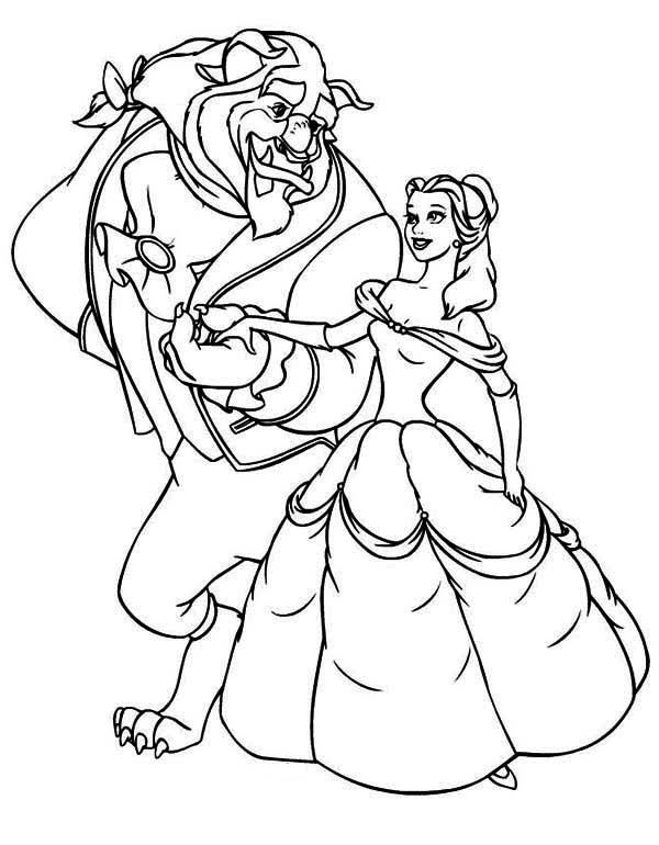 Beauty And The Beast Invite Belle To Dance Coloring Page