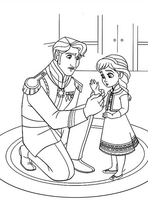 Frozen The King Arendelle Put Gloves To Young Elsa Coloring Page